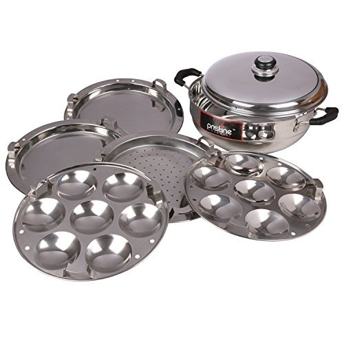 Pristine Induction Compatible Stainless Steel Multi Purpose Kadai (Silver)
