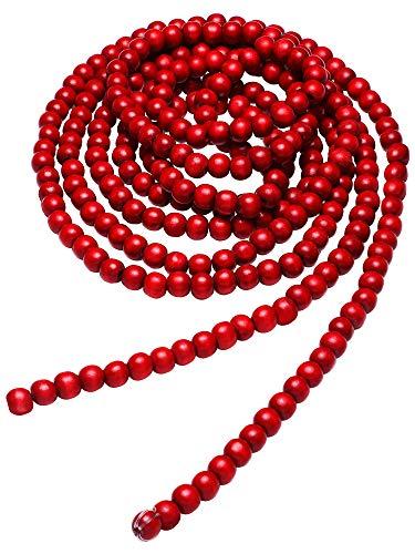 Guirnalda de Bolas de Madera de Navidad Guirnalda de Cuentas de Madera Roja Decoraciones de Árboles de Navidad para Favores de Vacación de Navidad, 12 Pies (Rojo)