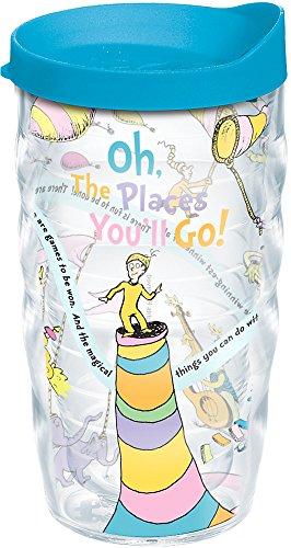 Tervis Copo Dr. Seuss - Oh the Places You'll Go com envoltório e tampa turquesa 283 g ondulado, transparente