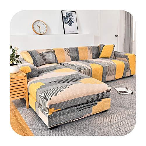 Funda de sofá elástica geométrica para sala de estar, sofá en forma de L, 2 piezas, funda de sofá de 20 a 2 plazas y 4 plazas