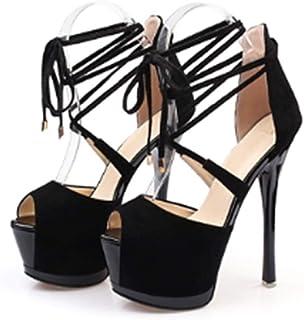 High Heels Nightclub Catwalk Stilettos Hollow Sandals Wedding Ball Ankle Cross Strap high Heels 16cm Hate high (Color : Black, Size : 38/US7.5)