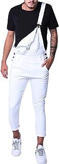 Allthemen Mens Dungarees Denim White Jumpsuit Cotton Bib Overalls Slim Fit Casual Workwear Overalls