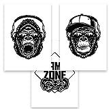 Gamer Affe Gorilla Bilder DIN A4 3er Set Monkey Dekobilder