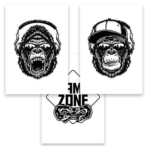 Gamer Affe Gorilla Bilder DIN A4 3er Set Monkey Dekobilder Wandbilder Skizze Poster Malerei Wohnzimmer Jugendzimmer Junge Bilderset Dekoration (ohne Rahmen)