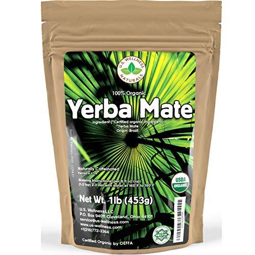 Yerba Mate Tea 1LB (16Oz) HI-CAFFEINE 100% CERTIFIED Organic SUPER-GREEN Yerba Mate | NO Dust | FRESH - NEVER Aged (Ilex Paraguariensis) | Brazilian Rain Forest Grown from U.S. Wellness Naturals