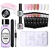 Raspbery 8 Colores Poly Nail Gel Extension Kit, Gel Nail Enhancement Set Maquillaje básico con Mini lámpara UV, Gel de uñas de Cristal Rosa y Blanco para Principiantes y Profesionales de la in Style