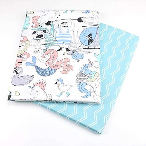 AIREQN 2PCS Dinosaures, Fox Cartoon Twill imprimé 100% Coton Tissu for bébé à Coudre Quilt Fat Quarters Enfant Bricolage Patchwork Tissu (Color : A024, Size : 50x40cm)