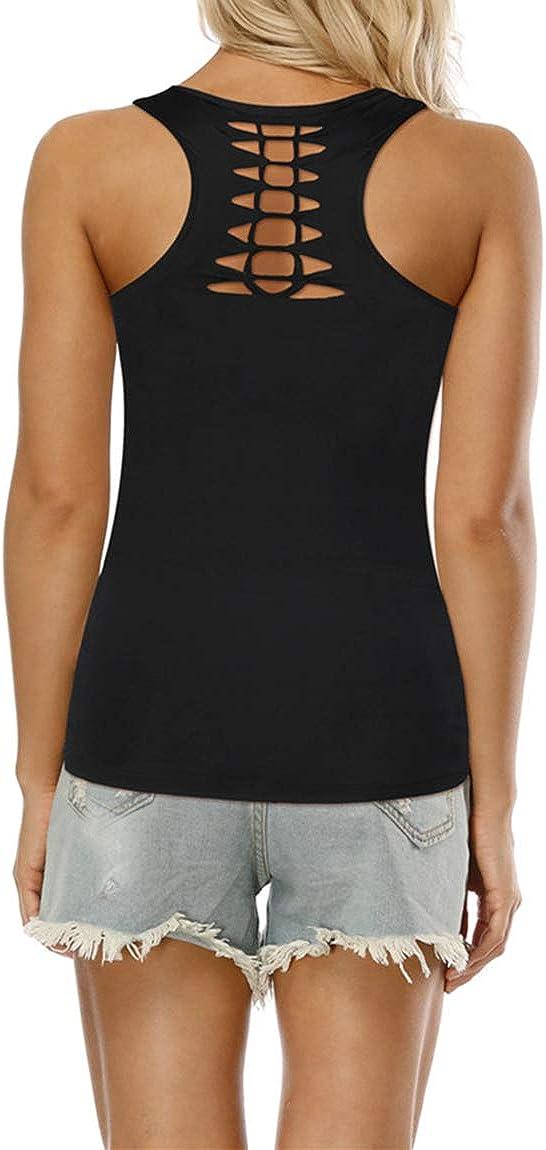 Ocean Plus Mujer Verano Camisetas sin Mangas Tanque G/ótico Deportes Tops Criss Cross Racerback Chaleco Rock Cl/ásico
