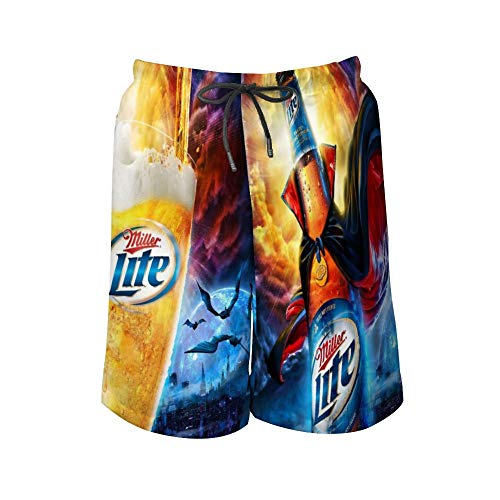 Miller Light Halloween Cloak Cool Swim Trunks Quick Dry Casual Hawaiian Mesh Lining Beach Board Shorts with Pockets