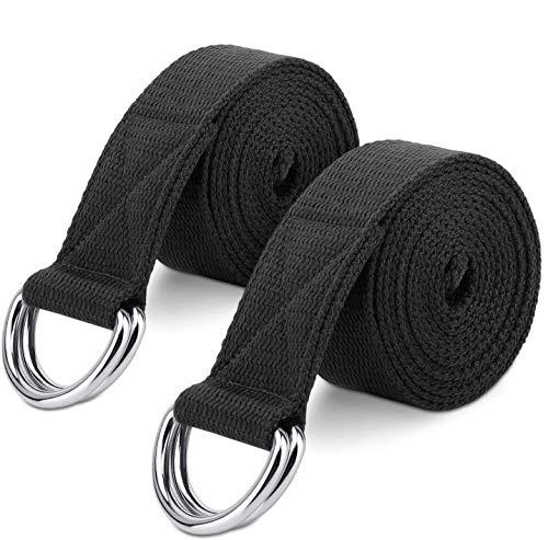 MoKo Yoga Correa - [2 Pzs] Durable Algodón Suave de Estiramiento Fitness Ejercicio Físico Band con D-Ring Metal & Strap Belt 6ft - Negro