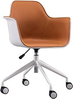 ZHEN GUO Sillas de Escritorio de Oficina en casa con sillas ejecutivas con Respaldo Medio, Moderna Silla giratoria para tareas con tapicería de Cuero de PU con Brazos de Altura Ajustable