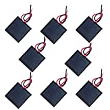 NUZAMAS Set of 8 Pieces 1V 200ma 40x40mm Micro Mini Solar Panel Cells, Wired, for Solar Power Energy, DIY Home, Garden Light, Science Projects - Toys - Battery Charger