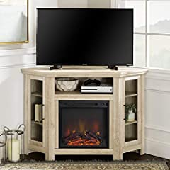 """Dimensions: 32"""" H x 48"""" L x 20"""" W Cable management features to run cords in the back of the TV stand Fireplace display and heat can be turned on individually Includes electric fireplace that will heat up to 400 sq. ft. (4600 BTU) No electrician requi..."""