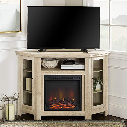 "Walker Edison Furniture Company Tall Wood Corner Fireplace Stand for TV's up to 55"" Flat Screen Living Room Entertainment Center, 48 Inch, White Oak"