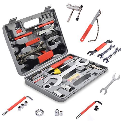 GOPLUS 44 TLG. Fahrrad Werkzeugkoffer, Fahrradwerkzeugset, Fahrradwerkzeug Reparaturset, Multifunktionswerkzeug Set