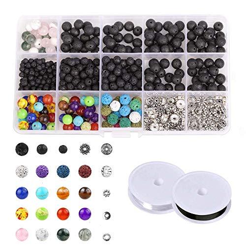 500 Stück 4-8 mm Lava Perlen Kit für DIY Schmuck Machen vulkanischen Chakra Spacer Bulk Perlen Halskette Armband liefert mit Kristallschnur