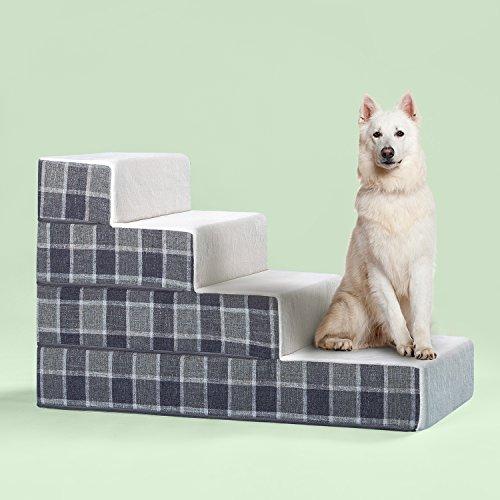 Zinus Cozy Pet Stairs/Pet Ramp/Pet Ladder/Grey Checked, Large