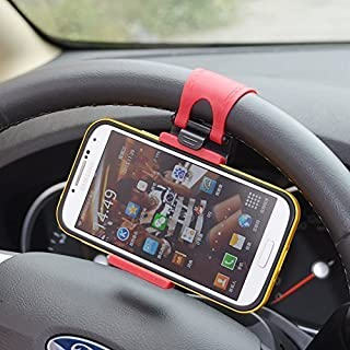 MMOBIEL Universal Portable Steering Wheel Holder Mount Clip Buckle for All Smartphones with Max 5.5 Inch Screen Size