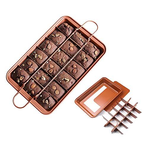 HomeMall Brownie Backform,kuchenform Brownie mit Trennwänden und Hebeboden Eckiges,Kohlenstoffstahl Brownie Tray zum Kuchen Backen