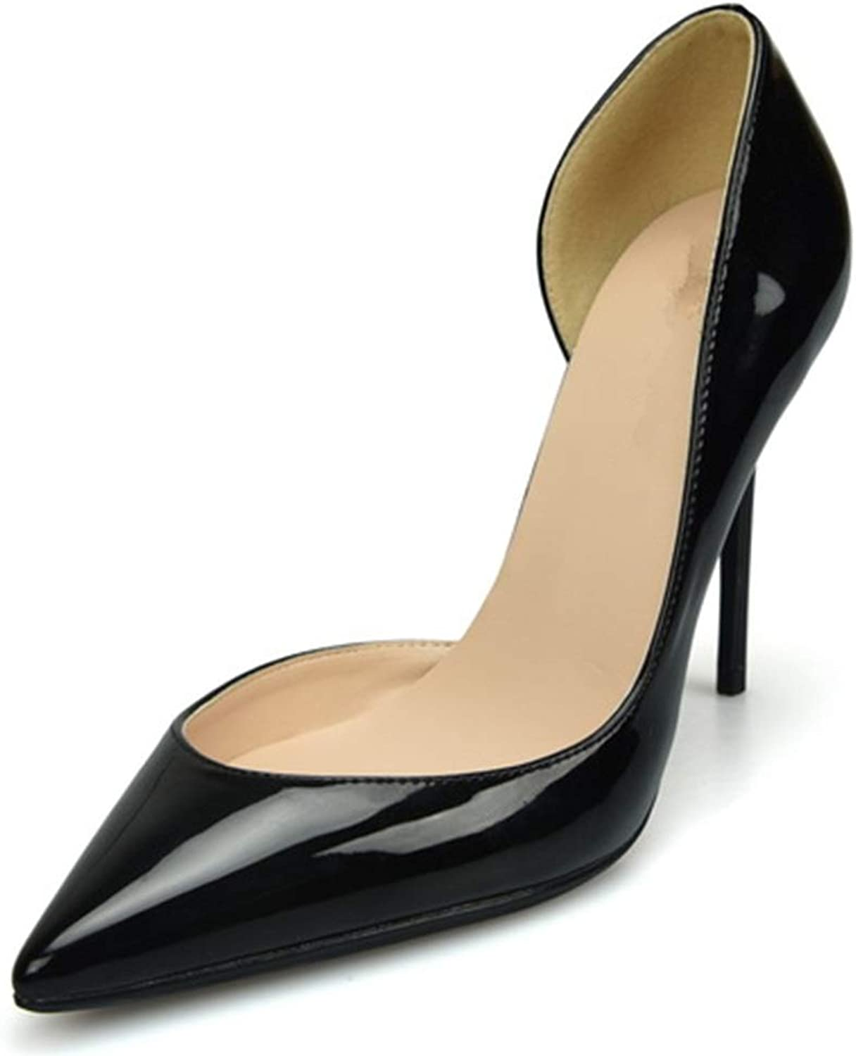 shoes Fashion Dorsay Pumps for Women High Stiletto Heels Side Cut Sexy Pointed shoes for Ladies  Pointed, Classic Slip On Dress Pumps Comfortable (color   Black 8 cm Heel, Size   4.5 M US)