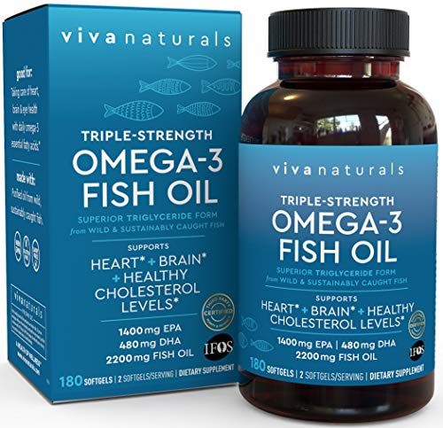 Omega 3 Fish Oil - Omega 3 Supplement with Essential Fatty Acid Combination of EPA & DHA, Triple...