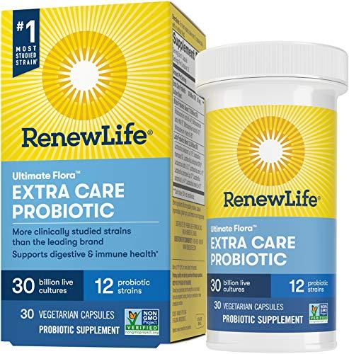 Renew Life Probiotics 30 Billion CFU Guaranteed, 12 Strains, For Men & Women, Shelf Stable, Gluten Dairy & Soy Free, 30 Capsules, Ultimate Flora Extra Care - 60 Day Money Back Guarantee