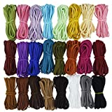 Lystaii 130 Yards 24 Bundles Suede Cord, Leather Cord 2.6mm x 1.5mm Suede Leather Lace Flat Faux Leather Cords Thread Velvet Cord for Bracelet Necklace Beading DIY Handmade Crafts Thread
