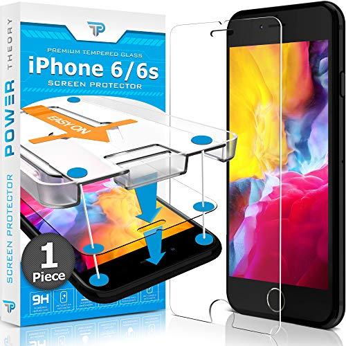 Power Theory Protector Pantalla para iPhone 6/6s Cristal Templado Ultrafino (0.33mm), Vidrio Ultraresistente (Dureza 9H) con Kit de Instalación Anti Burbujas