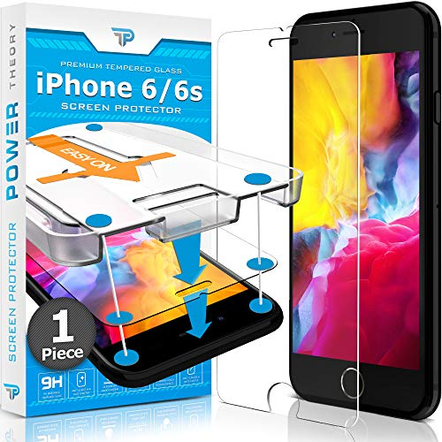 Power Theory Panzerglas kompatibel mit iPhone 6s/iPhone 6 - Schutzfolie mit Schablone, Panzerglasfolie, Panzerfolie, Glas Folie, Displayschutzfolie, Schutzglas