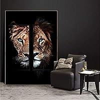 キャンバスプリント40x50cmライオンのダークキャンバス絵画アートポスターとプリントライオンとライオネスの動物リビングルームのアート写真