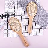 Chenjinbo Paquete de Cepillo para el Cabello Cepillo de Paleta de Madera Natural Desenredar el Cuero cabelludo Masaje de bambú Peine para Cabello Rizado Grueso