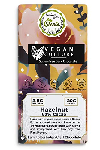Nepenthe Vegan 60% Cocoa (Sugar Free) Hazelnut Air Roasted Organic Dark Chocolate Stevia Sweetened/High in Natural Plant Protein/Diabetic Friendly