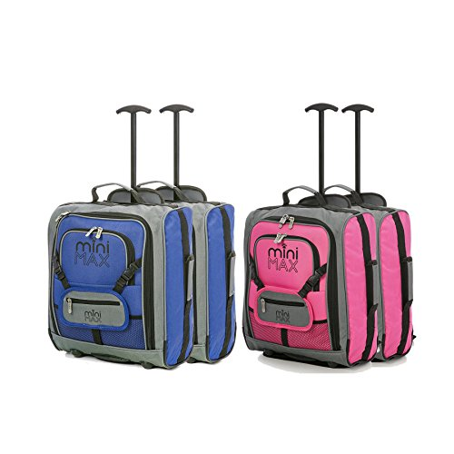 Sets of MiniMAX Childrens/Kids Luggage Carry On Trolley Suitcase with Backpack and Pouch for Your Favourite Doll/Action Figure/Bear (Blue x2 + Pink x2)