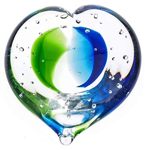 aubaho Presse-papiers en Forme de Coeur - Verre - Bleu/Vert - 10 cm