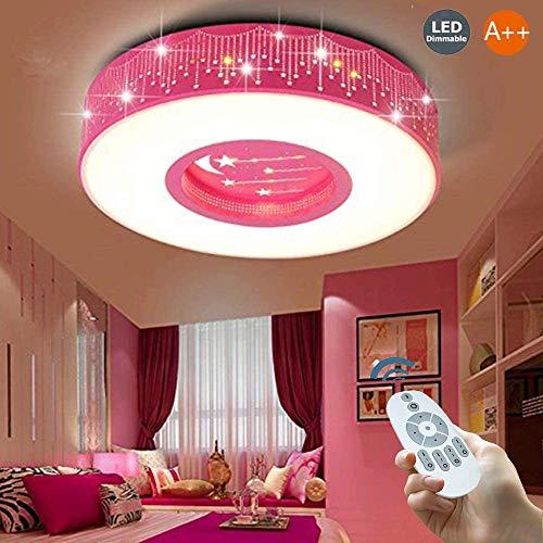 RUIXINBC Kinder LED-Deckenleuchte, Kinderdeckenleuchte Für Jungen Und Mädchen Zimmer, Dimmbare Energiespar Xingyue Kinder-Lampe Mit Fernbedienung Acryl Deckenleuchte,Rosa,40cm