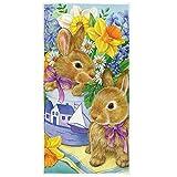Bert-Collins Towel Lindo Conejo Conejo de Pascua pájaros Flores Mariposa Toallas de Mano 27.5x15.7in Toalla de baño Ultra Suave