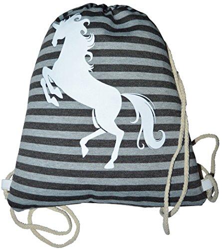 Gymtas rugzak buideltas met koord eenhoorn strepen strepen patroon neonkleur Neon Unicorn paard Horse Sporttas Gymsack Sporttas Bag Hipster