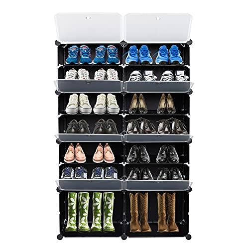 Zapatero, organizador de zapatos, puertas transparentes de color negro, organizador de almacenamiento rectangular, zapatillas, estantes, zapatos, botas, zapatillas, fácil instalación
