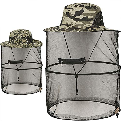 Mosquito Head Net Hat,Sun Hats with Net Mesh Mask(2 Pack, Camouflage)