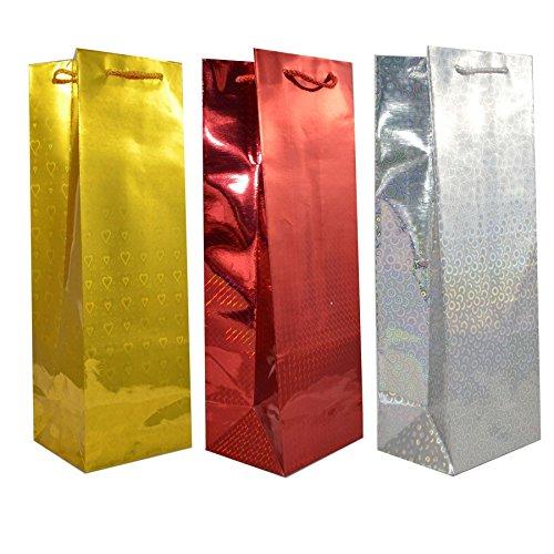 SHATCHI-3 sacchetti olografici assortiti per bottiglia di vino regalo di Natale, 5060445493190