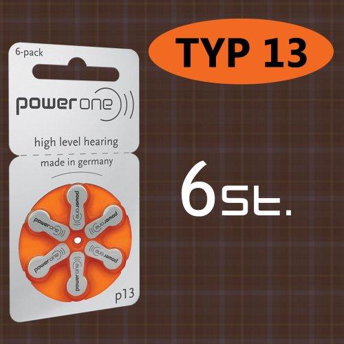 6 stuks batterij PowerOne type p 13 hoorapparaat batterijen (voor hoortoestel: GN resound)