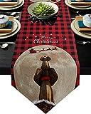 Camino de mesa de Navidad de 33 x 228 cm, mantel de arpillera para reuniones de Acción de Gracias, elefante, chimenea, decoración de mesa a cuadros
