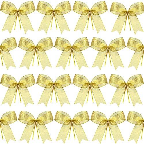 Weihnachtsbogen Band Bogen für Weihnachtsbaum, Weihnachtskranz, Geschenk Dekoration (Gold, Größe M, 72 Stück)