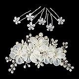 Naler Set di 7 Accessori per Capelli di Sposa 1 Pettine Nuziale da Sposa + 6 Forcine di Fiori Perle e Cristallo Decorazioni Nuziali per Sposa