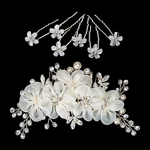 Naler 7-teilig Brautschmuck Blumen Haarschmuck mit Perlen Strass Braut Accessoire für Hochzeitsfrisur Hochzeit Kommunion Fest, 1 Haarkamm + 6 Haarnadeln