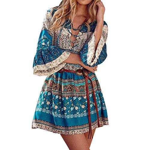 LaoZan Damen V-Ausschnitt 3/4 Ärmel Boho Bohemian Blumenmuster Strandkleid Sommerkleider Minikleid Tunika Shirtkleid Knielang XL Grün