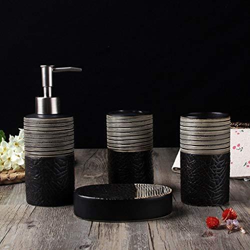 Dosificador Jabón líquido Negro Accesorios de baño Set, 4 pieza completa de cerámica baño cepillado conjunto de accesorios, cepillo de dientes titular, dispensador de jabón líquido, jabonera, 1 Vasos