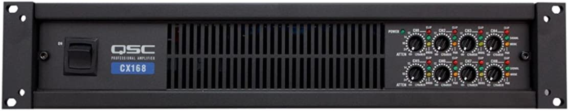 QSC CX168 Power Amplifier 130 Watts 8 channel at 4 Ohms 3-Pin Detachable-Blocks Variable-Speed-Fan