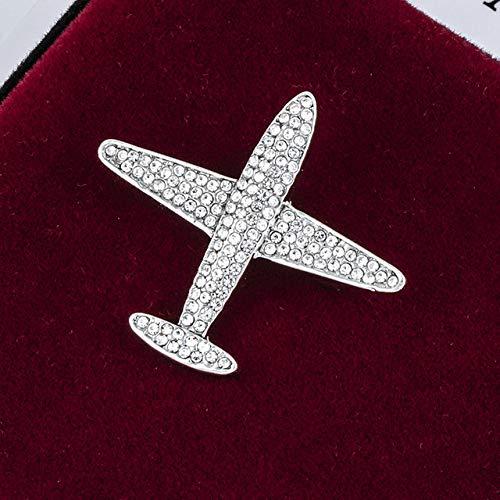 XZFCBH Fashion Metalen Vliegtuig Broche Strass Vliegtuigen Lapel Pin voor Vrouwen en Mannen Suit Sjaal Gesp Badge Kraag Accessoires