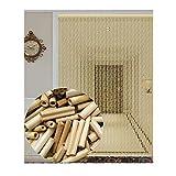 XZP Naturholz und Bambus Perlenvorhang Tür String-Vorhang for Doorway Raumteiler Dekoration, 2 Farben, 8 Größen (Color : RED, Size : 90X200CM)